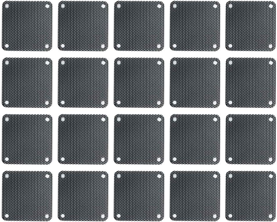 Solustre Filtro de polvo para ventilador de 40 mm para PC, carcasa de PVC, filtro antipolvo, rejilla para ventilador, filtro de polvo (20 unidades)