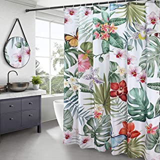 AooHome Palm Leaves Printed Bathroom Curtain, Pretty Butterfly Fabric Shower Curtain with Hooks, Weighted Hem, Heavy Duty, Waterpoof, 70x78 Inch, White