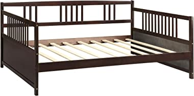 FLIEKS Solid Wood Daybed Full Size Daybed with 10 Wooden Slats Support, Dark Espresso