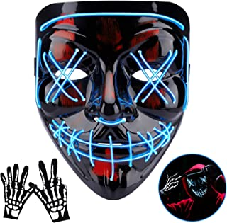 Halloween Mask LED Light Up Scary Mask with Skull Gloves 3 Lighting Modes for Festival Parties Cosplay
