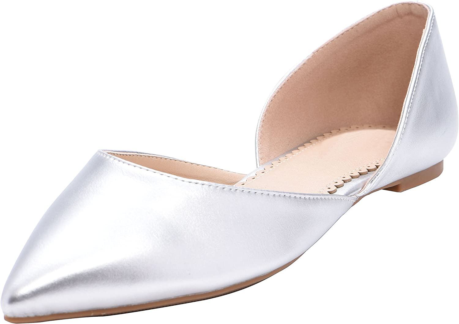 Cambridge Select Women's Closed Pointed Toe D'Orsay Slip-On Ballet Flat