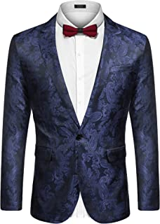 Men's Paisley Dress Suit Lightweight Stylish Slim Fit Jacket Blazer for Prom Dinner Party