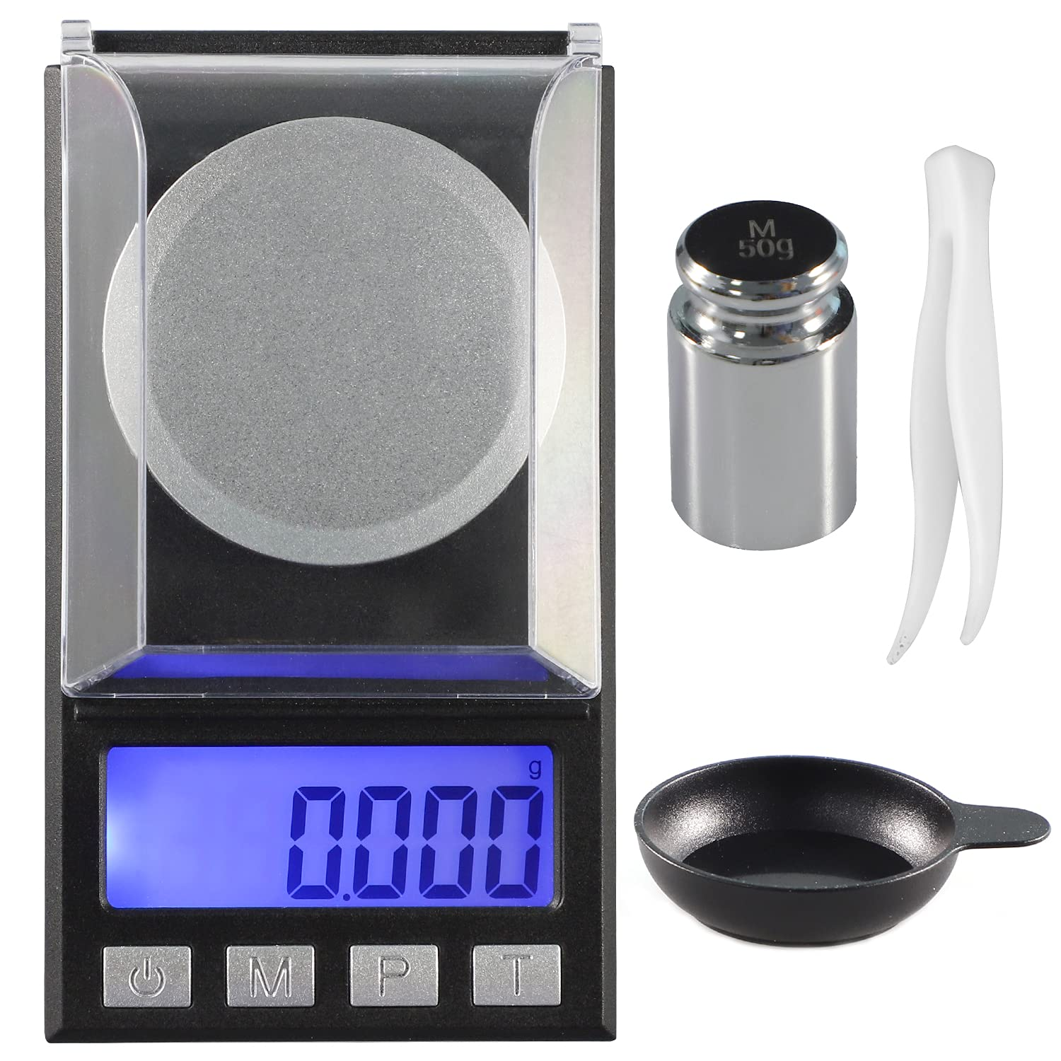 JHSCALE Portable Jewelry Scale with LCD Backlit, Digital Milligram Scale 50g/0.001g,Mini Pocket Scale with 8 Units,Digital Weight Grams for Jewelry, Gem, Diamonds, Powder,Pills,Batteries Included : Office Products