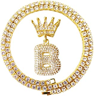 HH Bling Empire Iced Out Hip Hop Gold King Crown Bail Cz Diamond Initial Letter Pendants Tennis Chains