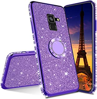 MEIKONST Case for Galaxy J6 Plus, Stylish Bling Sparkly Diamond Luxury Plating Silicon TPU Soft Case with Ring Stand Holde...