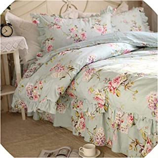 Magic day Flower Print Bedding Set Rustic Duvet Cover Bedding Wrinkle Bedspread Bed Sheet for Wedding Pillowcase Bed Clothes,Full Flowers,California King