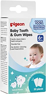 Pigeon Pigeon Baby Tooth & Gum Wipes Natural, 20 Count
