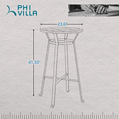 """PHI VILLA Metal Bar Table, 41.3"""" High Round Wood Top Bistro Pub Table, Heavy-Duty Industrial Style Breakfast Table for Home,"""