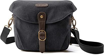 کیف دوربین ، کیف دوربین BAGSMART SLR DSLR Canvas ، کیف شانه Vintage Padded With Cover Rain برای زنان ، مردان ، سیاه