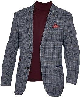 Marc Darcy Mens Formal Check Tweed Blazer Jacket Enzo - Grey/Blue
