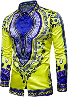 Yobecho Men's Long Sleeve African Bright Dashiki Cotton Shirt Variety Colors Dress Shirts