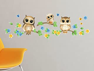 Owls on Branches Fabric Wall Decal - Brown - Set of 3 Owls on Tree Branches with Flowers and Butterflies - 4 Color Options - Non-Toxic, Reusable, Repositionable