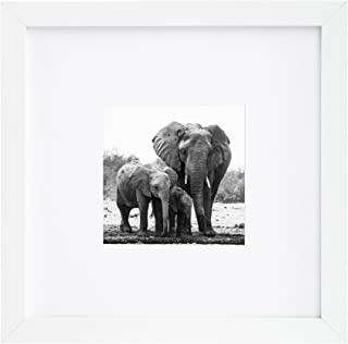 Americanflat 8x8 Picture Frame - Display Pictures 4x4 with Mat - Display Pictures 8x8 Without Mat, White