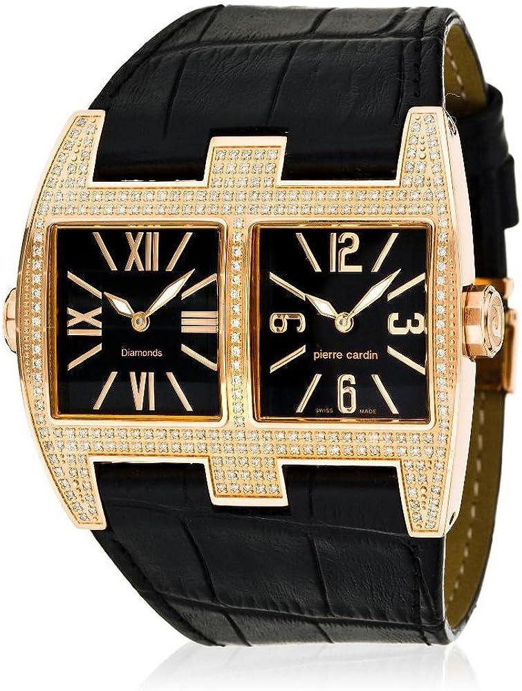 Pierre cardin vis-a-vis, orologio per donna,cassa in acciaio tempestata di cristalli,cinturino in pelle PC100081D02