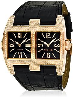 Pierre Cardin vis-a-vis orologio al quarzo con display analogico nero e cinturino in pelle nero PC100081D02