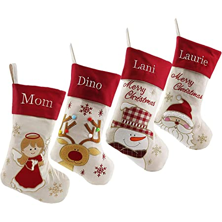 Amazon Com Dearsun Set Of 4 18 Personalized Customization Christmas Stockings Santa Snowman Reindeer Angel With Embroidery Technology For Family 4 Design 1 Free Update To Expedited Home Kitchen