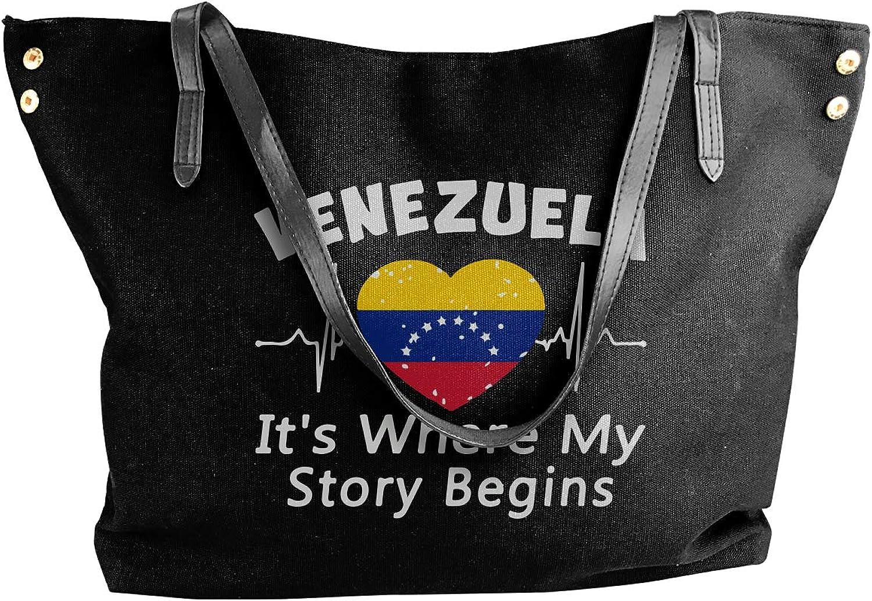 Venezuela It's Where My Story Begins Women'S Leisure Canvas Shoulder Bag For Travel Big Shopping Bag