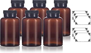 Amber PET Packer Bottle with Black Ribbed Lid 8 oz (6 pack) + Labels, for storing supplements, herbs, varies capsules and more.
