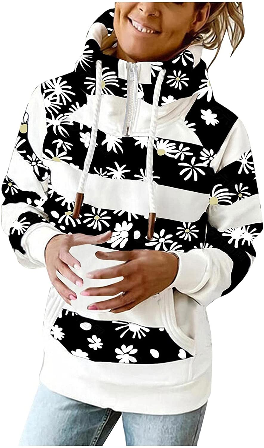 UOCUFY Hoodies for Women Zip Up,Lightweight Turtle Neck Pocket Sweatshirts Long Sleeve Striped Printed Pullover Hooded