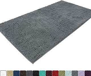 Best MAYSHINE Absorbent Microfiber Chenille Door mat Bathroom Rugs Runner for Front Inside Floor Doormats, Quick Drying, Washable--31x59 inch Gray Reviews