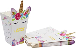 Unicorn Birthday Party Supplies-Unicorn Popcorn Candy Bags Boxes With Glossy Finish(12 Pack) For Goodie Bags Baby Shower-Unicorn Party Favors For Girls
