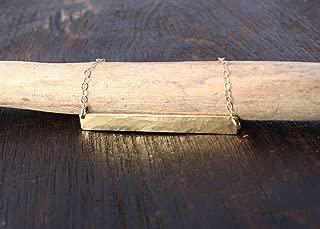 14k Gold Bar Necklace. Solid Gold Bar Necklace Hammered Gold Necklace by Jane Fuller Designs