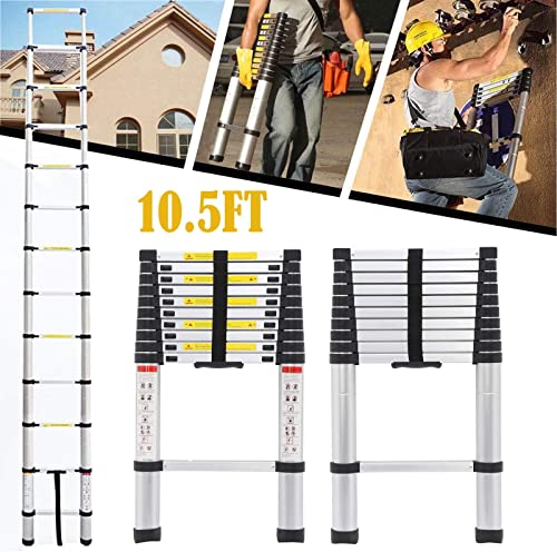 high quality Telescoping ladder 10.5FT sale Aluminum Telescopic Extension high quality Multi Purpose Steps with Spring Loaded Locking Mechanism Anti Slip 330 lbs Max Capacity EN131 Certificated outlet online sale