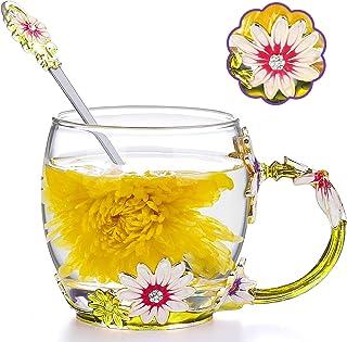 COAWG Taza de Té con Cuchara, Crisantemo Cristales de Cristal Claro Tazas de Té y Café con Mango de Flores Regalo para Abu...