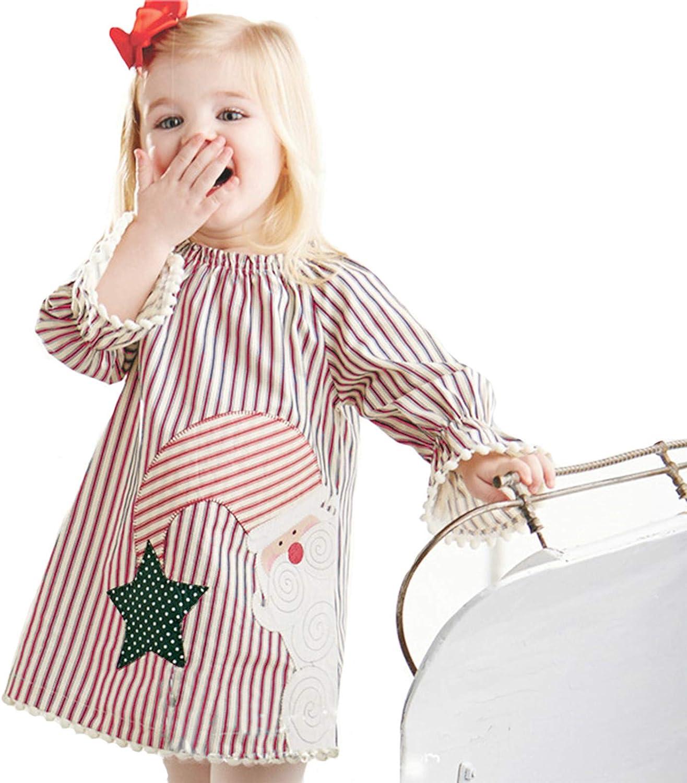 9M-6T Toddler Girls ✿Long Sleeve Stripe 3D Christmas Printing Ruffle Princess Dresses RedBrowm Girls Casual Dresses