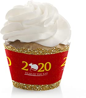 Big Dot of Happiness Chinese New Year - 2020 Year of the Rat Party Decorations - Party Cupcake Wrappers - Set of 12