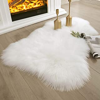 Ashler Soft Faux Sheepskin Fur Rug Chair Couch Cover White Area Rug Bedroom Floor Sofa Living Room 2 x 3 Feet