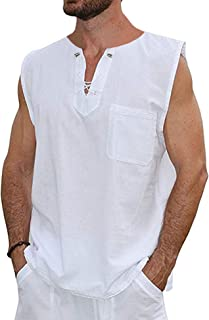 COOFANDY Mens Fashion T Shirt Cotton Tee Hippie Shirts Sleeveless Beach Yoga Top