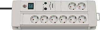 Brennenstuhl Premium-Line, Steckdosenleiste 8-fach mit Überspannungsschutz 3m Kabel und mit Schalter - inkl. auswechselbarer SicherungFarbe: lichtgrau