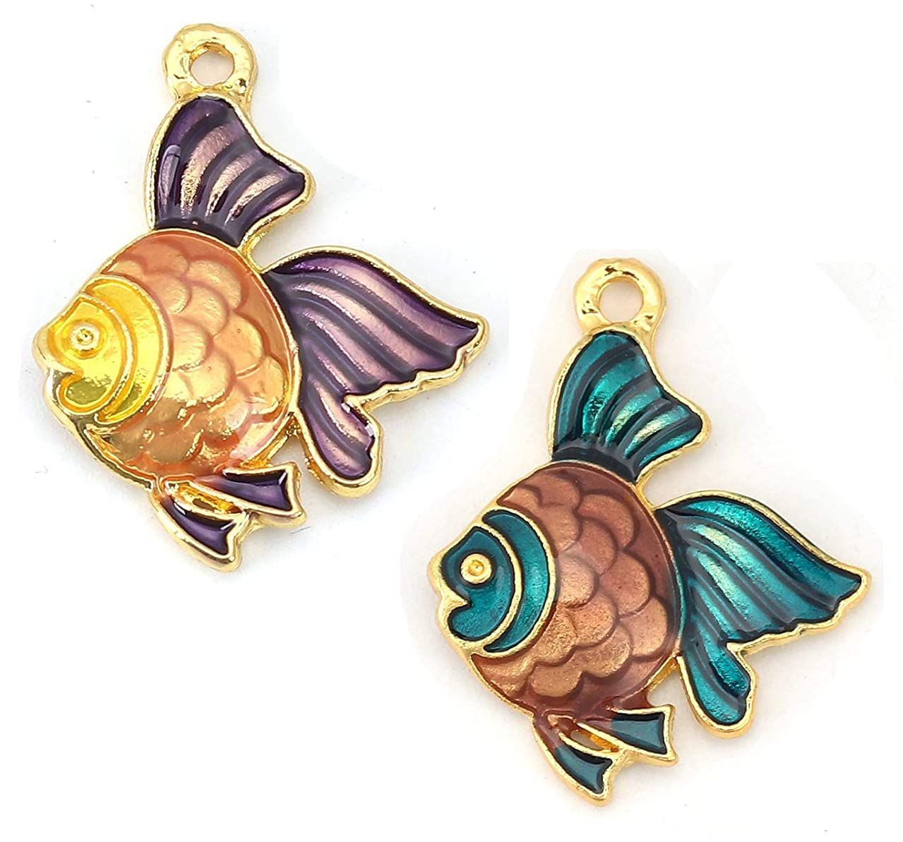 Ocean Fish or Goldfish Enamel Charms, 10 Pack, Gold Tone 3/4 Inch (Set A)