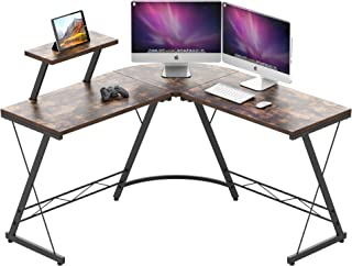L Shaped Computer Desk, IDEALHOUSE Corner Home Office Desk, Space Saving Gaming Computer Desk PC Table Workstation with La...