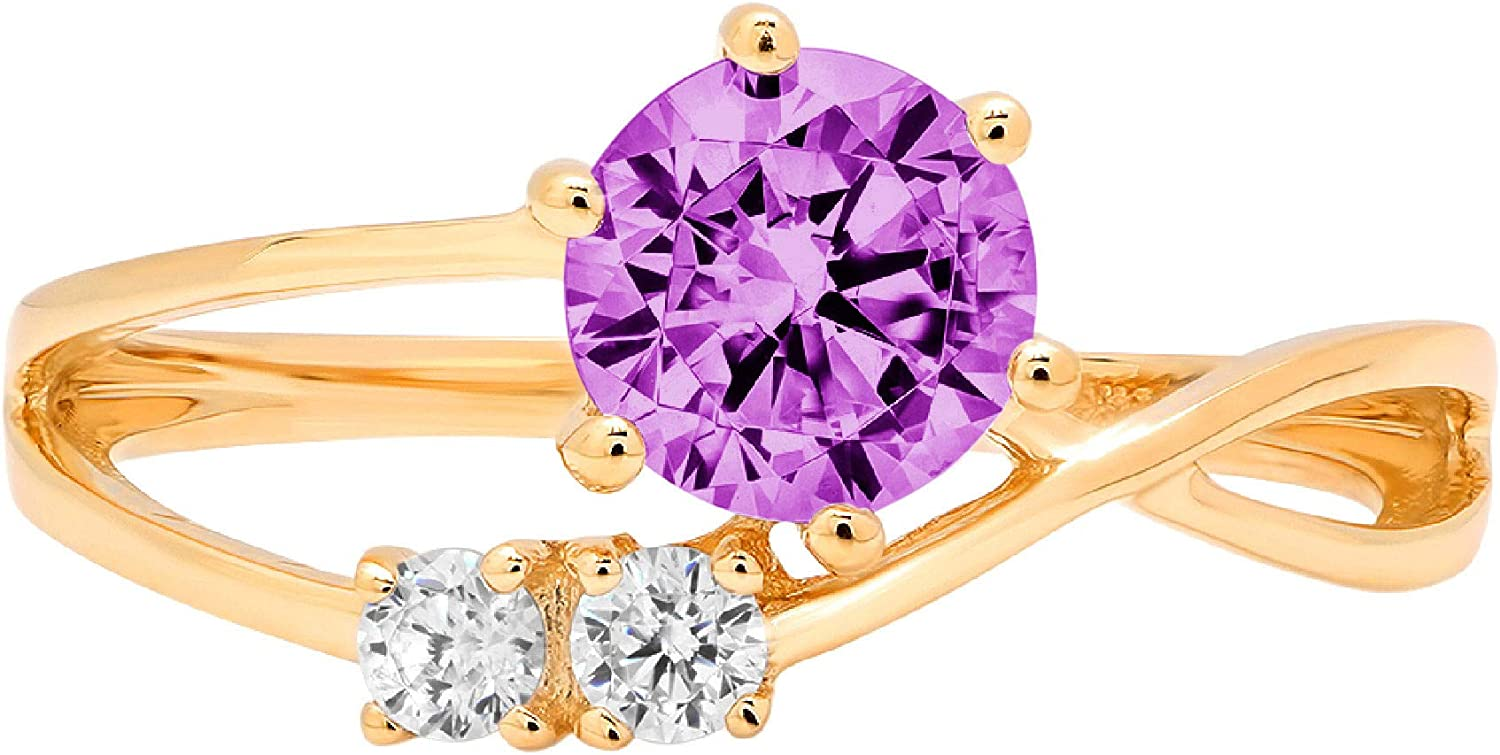 0.9 ct Round Cut 3 stone love Solitaire Stunning Genuine Flawless Simulated Purple Alexandrite Modern Promise Statement with accent Designer Ring 14k Yellow Gold
