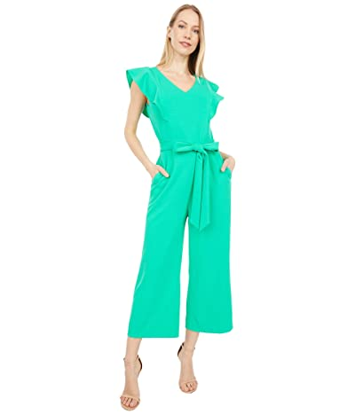Tahari by ASL Stretch Crepe Ruffle Shoulder Cropped Leg Jumpsuit (Dynasty Green) Women