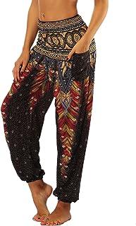 Mujer Pantalones Hippies Tailandeses Estampado Verano Cintura Alta Elastica con Bolsillos para Yoga Casual