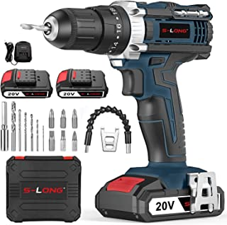 S-LONG 20V Cordless Drill Driver Set,Power Drill 3/8 with 2 Batteries and Charger LED Bits
