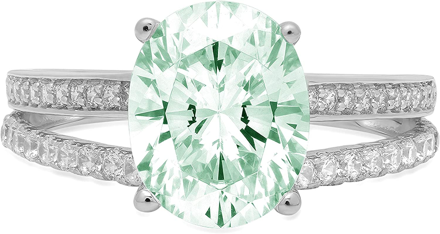 2.04ct Oval Cut Solitaire with Accent split shank Turquoise Green Ideal VVS1 Simulated Diamond CZ Engagement Promise Statement Anniversary Bridal Wedding Ring 14k White Gold