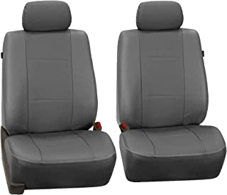 FH Group PU007GRAY102 Gray Deluxe Leatherette Bucket Seat Cover, Set of 2 (Airbag Compatible)