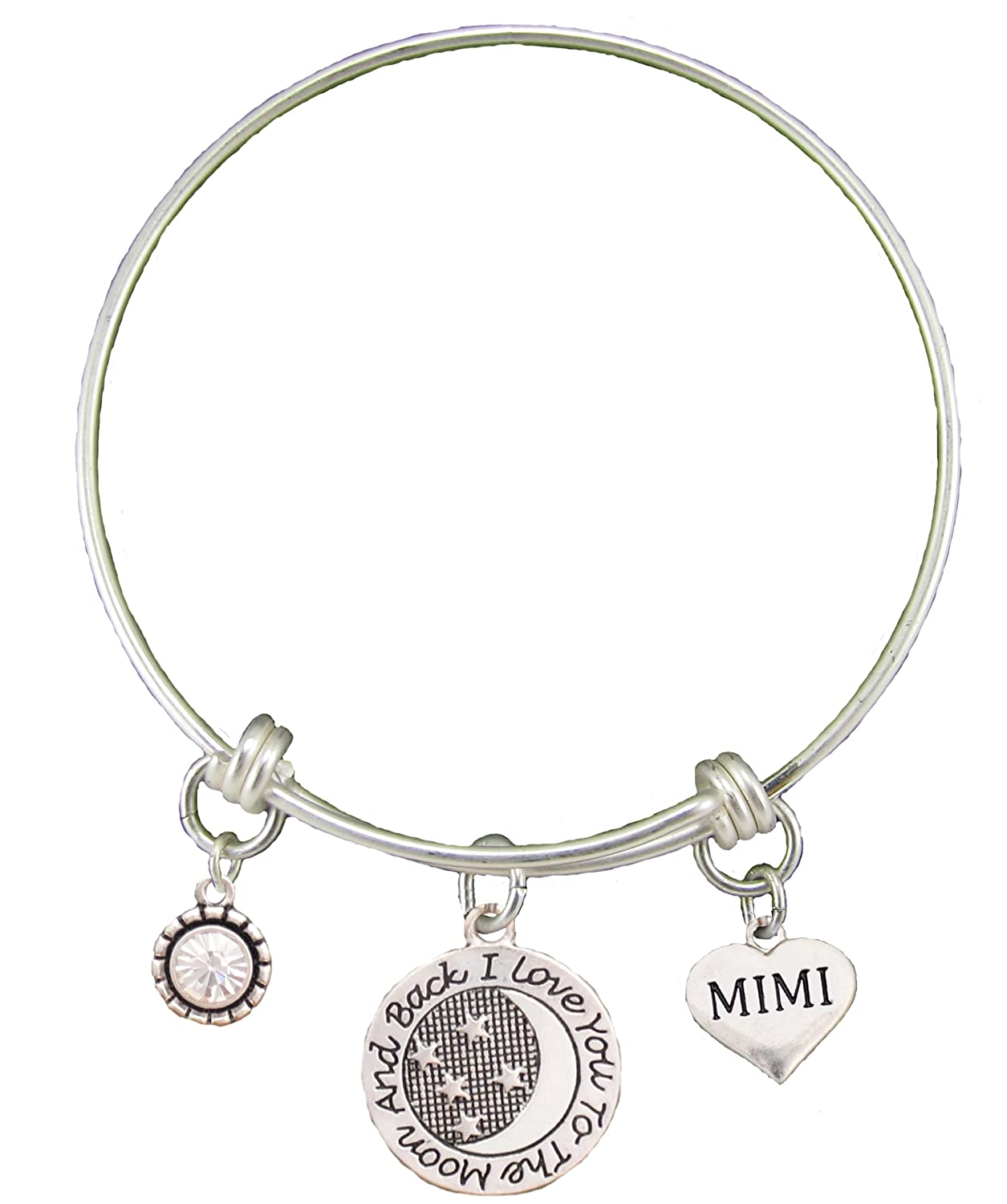 Mimi Love You To The Moon Silver Wire Adjustable Bracelet Heart
