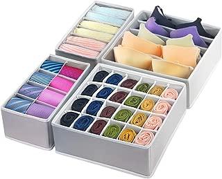GOGOODA 4 Pcs Foldable Drawer Organizer, Desk Closet Organizer and Storage Drawer Dividers for Underwear Bra Socks(Grey)