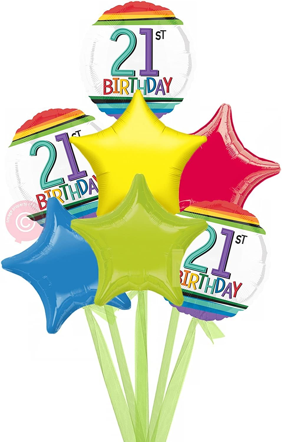 Num 21 Rainbow 21st Birthday  Inflated Birthday Helium Balloon Delivered in a Box  Bigger Bouquet  7 Balloons  Bloonaway