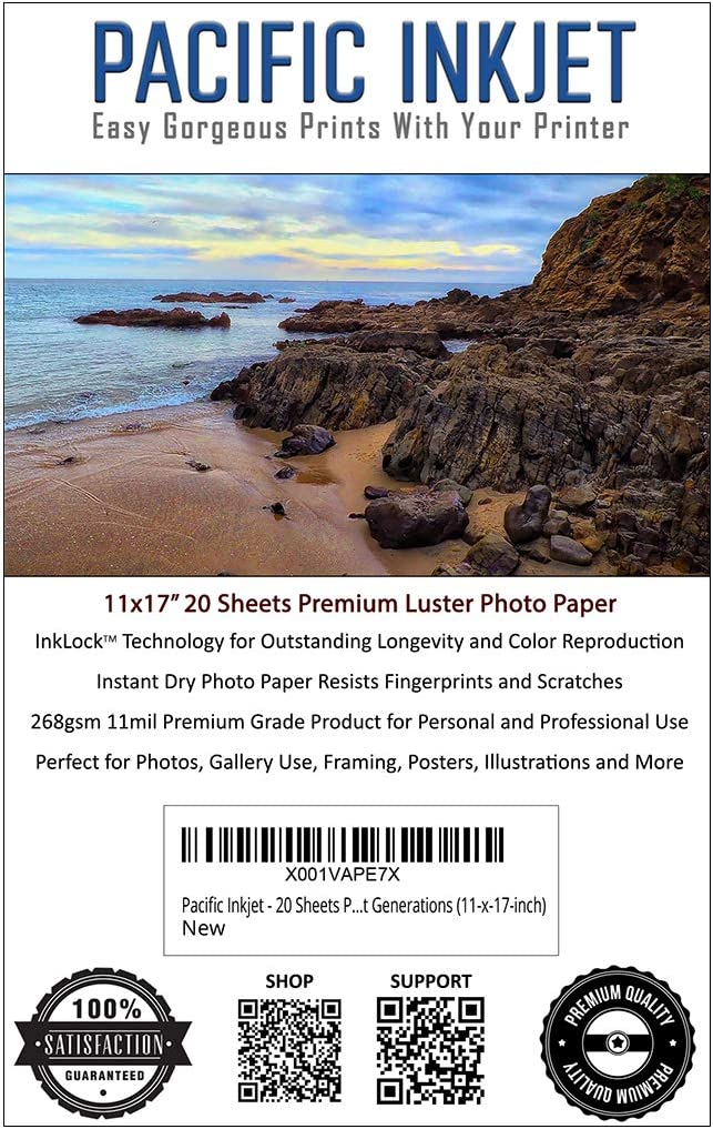 Pacific Inkjet Paper 11x17 SALENEW very popular! 20 Sheets Professional 35% OFF Luster