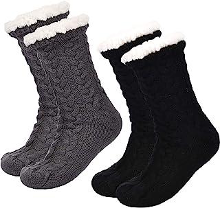 Boao 2 Pairs Women's Warm Slipper Socks Christmas Fuzzy Socks Fleece-lined Non Slip Slipper Socks