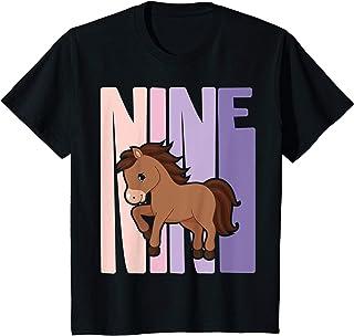 Enfant 9 Ans Anniversaire Retro Poney Cheval filles T-Shirt
