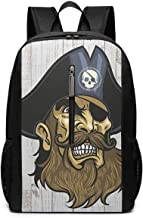 Large Laptop Backpack, Waterproof Business Carry On Backpack for Men Women, College School Durable Computer Bookbag,Water Bottle Pockets Daypack - Cool_Pirate_Jolly_Roger_Skull