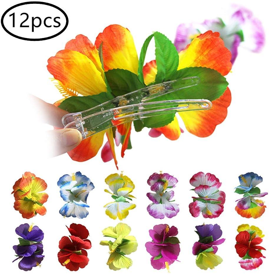 12PCS Hibiscus Flower Hair Clip for Women Girls - Hawaiian Flower Hair Accessories Beach Wedding Party Dance Show Accessories