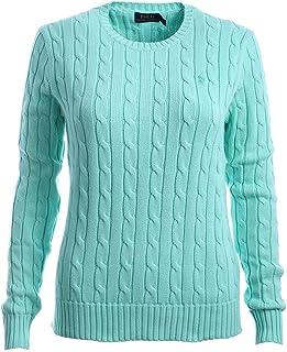 Ralph Lauren Women's Cable Knit Crew Neck Sweater (Large, Green)
